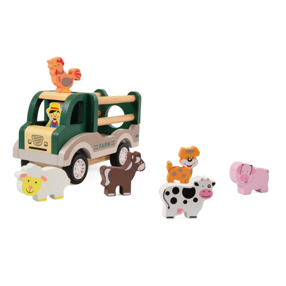 Koka kravas mašīna ar dzīvniekiem Ferma Pull-back Magni MG2919