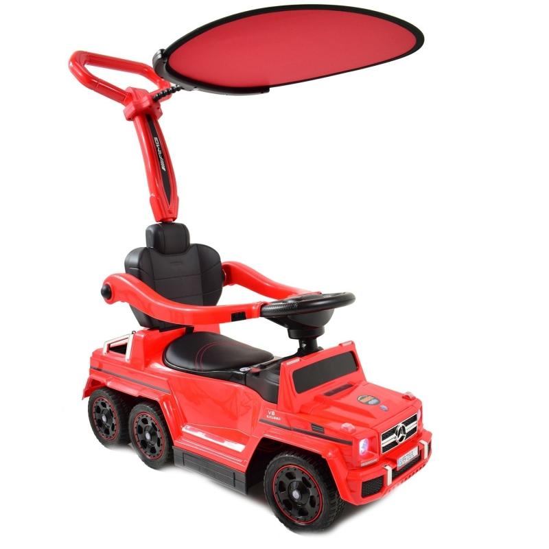 Stumjamā mašīna ar rokturi + Elektromobilis MERCEDES G63 SX-1838-CZERWONY
