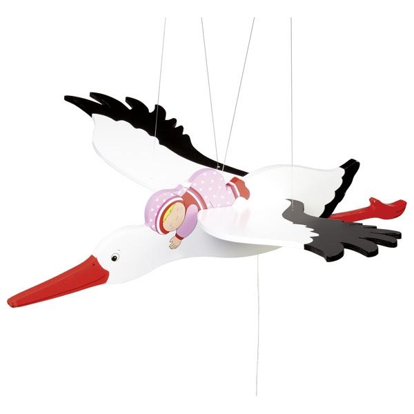Piekaramā rotaļlieta – stārķis ar meitenīti Goki 52929