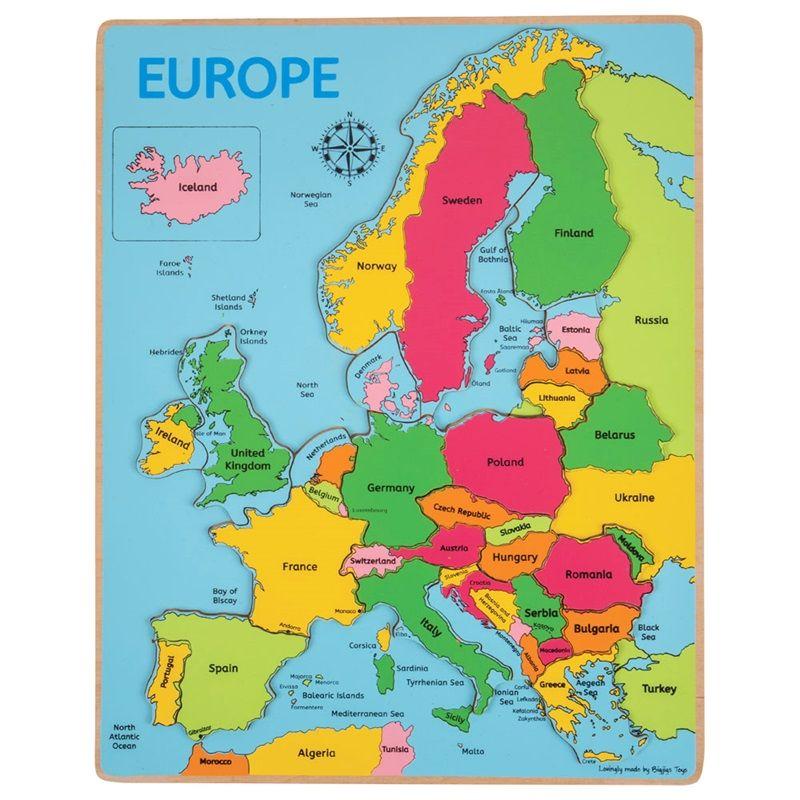 Puzle Eiropas karte Galvaspilsēta - Valsts BIGJIGS BJ048