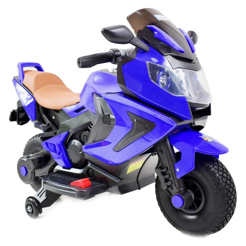 Bērnu motocikls ar akumulatoru, gumijas riteņi BQ-3188-AIR-NIEBIESK