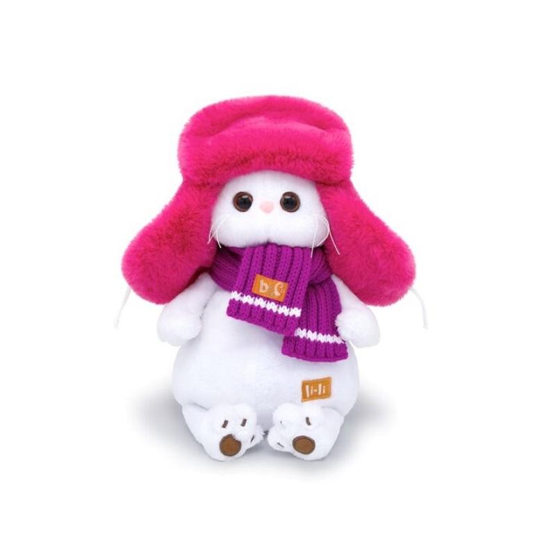 Mīksta rotaļlieta kaķene Li-Li kažokādas cepurē 24cm Budi Basa LK24-031