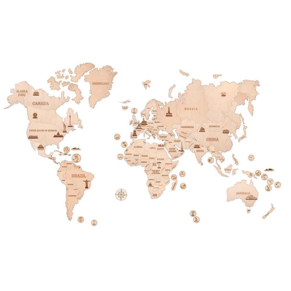 3D Koka Pasaules sienas karte XXL 200 x 120 cm Woody WT784